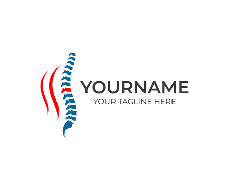 Spine and backache logo template. Medical diagnostic center, treatment and care behind spine vector design. Healthcare and illustration