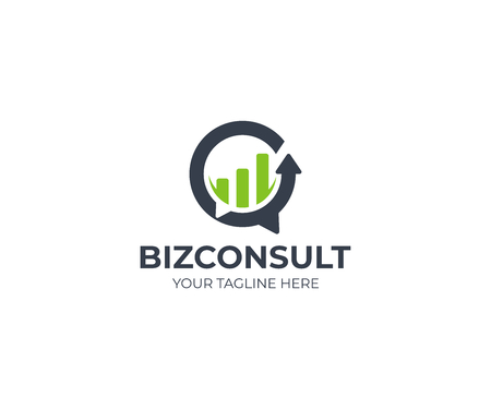 Business consulting logo template. Speech bubble and growth graph vector design. Consult logotype 矢量图像