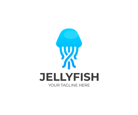 Jellyfish logo template. Sealife vector design. Marine animal logotype