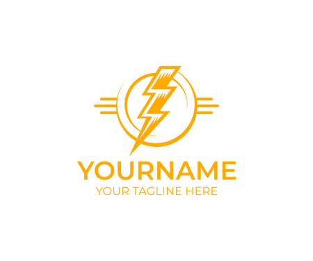 Electrical lightning and flash, logo template. Electric thunder, power, energy and light, vector design. Lightning electricity, illustration