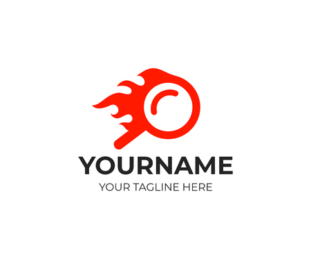 Quick search and flame, fire, logo template. Çizim