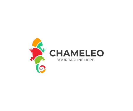 Chameleon logo template. Colored lizard vector design. Exotic animal logotype 일러스트
