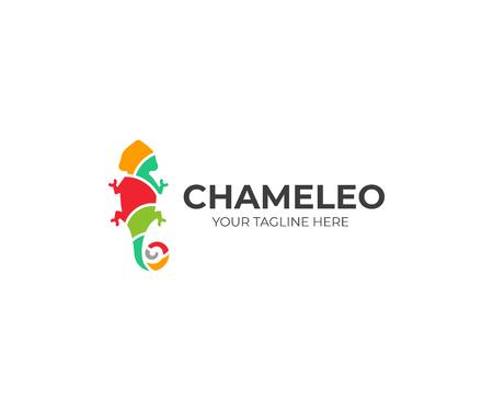 Chameleon logo template. Colored lizard vector design. Exotic animal logotype Illustration