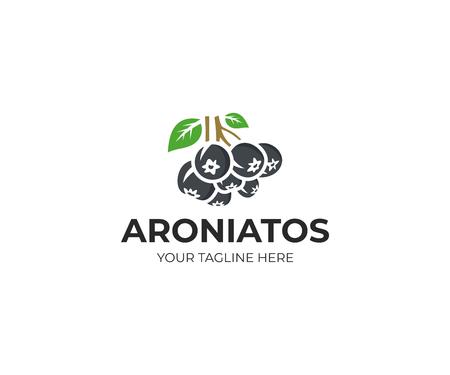 Aronia berry logo template. Chokeberry vector design, Fruit logotype Illustration