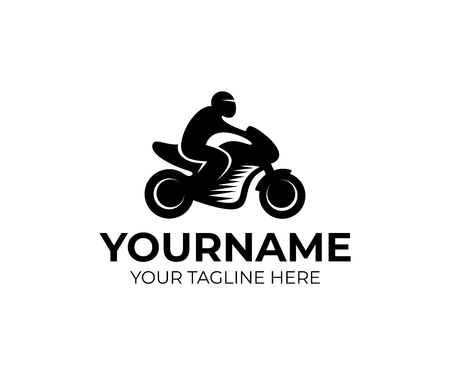 Motorcyclist on motorcycle, motorbike as template for moto sport and racing design. Illustration