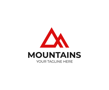 Abstract mountains icon template. Triangle mountain peak vector design. Top of the mountain icon. Çizim