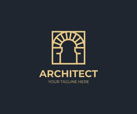 Arc antique dans un modèle de logo carré. Conception de vecteur d'arche vintage. Logotype de construction arqué