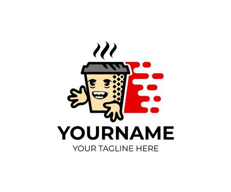 만화 캐릭터 커피, 종이 컵과 빠른 배달, 로고 템플릿에 차. 커피 숍, 카페테리아 및 배달 커피, 집에 차, 벡터 디자인. 음식과 뜨거운 음료, 일러스트레 일러스트