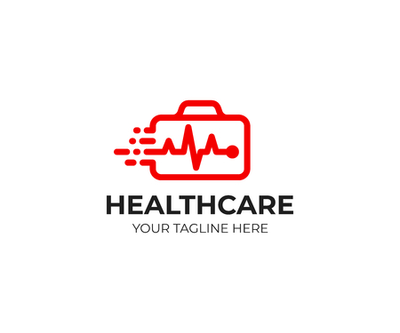 Medical suitcase logo template. First aid kit and heartbeat line vector design. Ambulance logotype
