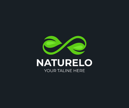 Green leaf infinity logo template. Leaves and infinity loop vector design. Natural organic logotype 向量圖像