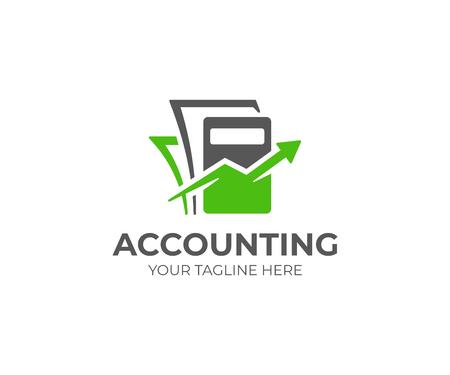 Modello di logo di contabilità. Contabilità disegno vettoriale. Calcolatrice con freccia e logotipo di documenti
