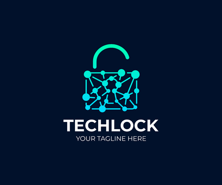 Padlock and network chain logo template. Open lock and circuit vector design. Cyber security logotype Çizim