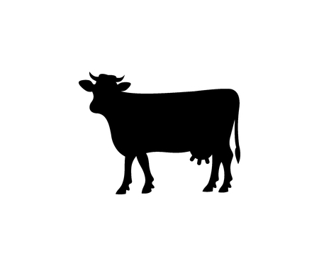 Cow silhouette, vector design. Animal, pet, livestock and farm, agriculture, illustration Illustration