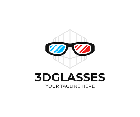 3D cinema glasses logo template. Red cyan anaglyph 3D spectacles vector design. Cinema 3D spectacles logotype