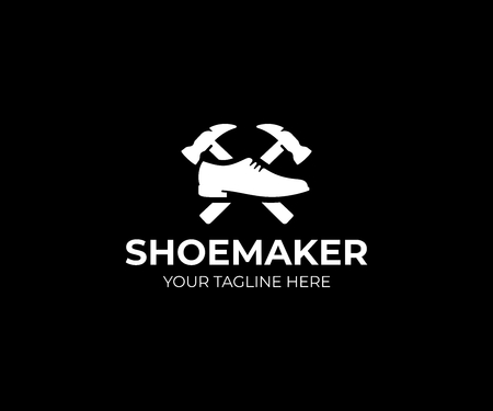 Shoemaker icon template. Shoe repair vector design. Male shoe and hammer icon.