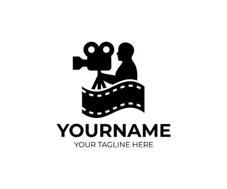 Kamerzysta, kamerzysta i kamerzysta albo kamera kinowa, szablon logo. Film, kino i filmowanie, projektowanie wektorowe. Festiwal filmowy i przemysł filmowy, ilustracja Logo