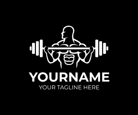 Bodybuilding, gym and fitness center, man bodybuilder raises barbell row, logo template. Weightlifting, weight training, crossfit and power sports, vector design. Gym club and sportsman, illustration