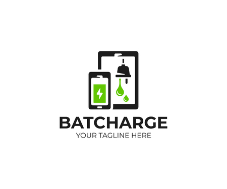 Battery charging logo template. Battery charge status vector design. Smartphone and tablet with battery indicator logotype  イラスト・ベクター素材