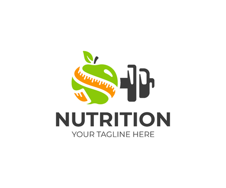 Sports nutrition logo template. Green apple with measure tape and metal dumbbell vector design. Fitness nutrition logotype Vettoriali