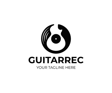 Vinyl record and electric guitar logo template. Guitar music disc vector design. Gramophone vinyl record logotype Illustration
