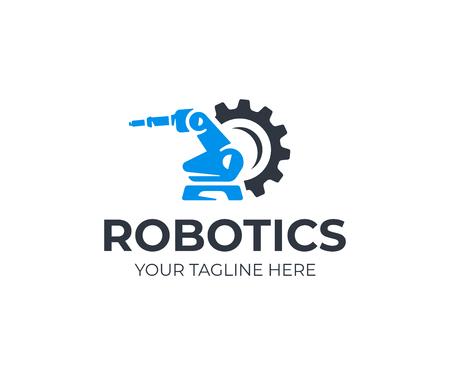 plantilla de logotipo manipulador robótico robótico. vector de diseño de robot de seguridad. logotipo de brazo militar