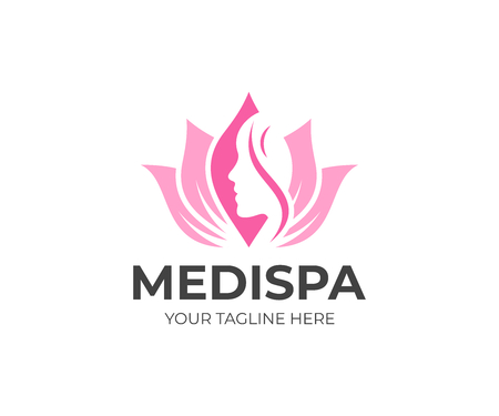 Medical spa salon logo template. Beauty care vector design. Lotus flower and womans face logotype Illustration