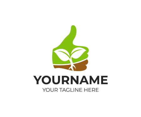 Thumb up with sprout inside, logo template. Farming and agriculture, vector design. Success and growth in business, illustration