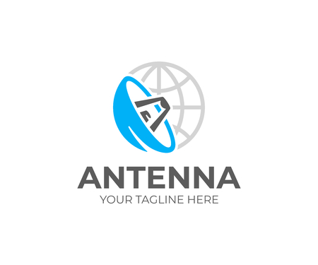 Satellite dish and world logo template. Satellite antenna vector design. Satellite communication system logotype