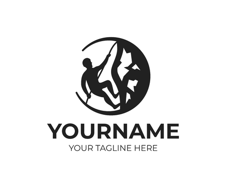 Mountaineer climbs mountains by rope on rock, logo template. Tourism, travel and outdoor recreation, vector design. Extreme sport, illustration