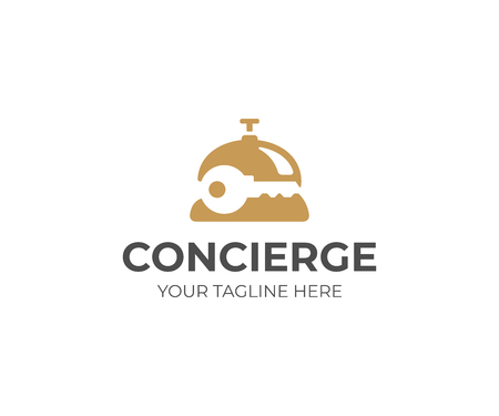 Concierge service logo template. Reception bell and key vector design. Concierge bell logotype Vectores