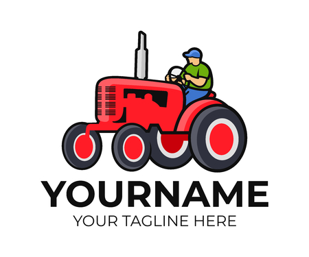 Tractor, tractor driver or farmer, logo template. Agriculture, farm and farming, vector design. Agricultural equipment, transport and transportation, illustration