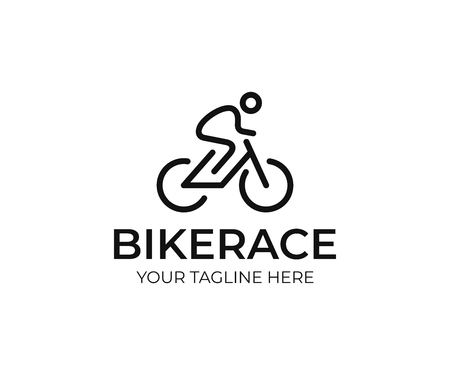 Cyclist logo template. Bicycle line art vector design. Bike cyclist logotype