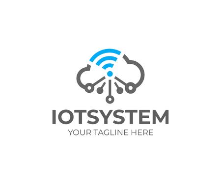 Internet de las cosas (IOT), plantilla de logotipo. Nube de red y señal wi-fi, diseño vectorial. Tecnología en la nube, logotipo