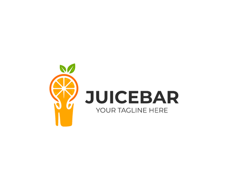 Fresh orange juice logo template. Fresh fruit drink vector design. Juice bar logotype Vectores