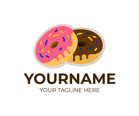 Doughnuts in glaze, donuts and delicious sugary dough rings, logo template. Sweet dessert, food and confectionery, vector design, illustration