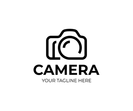 Digital camera logo template. Photography vector design. Photo studio logotype Çizim