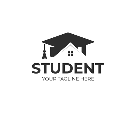 Student housing logo template. Students accommodation vector design. Bachelor cap and house roof logotype 向量圖像