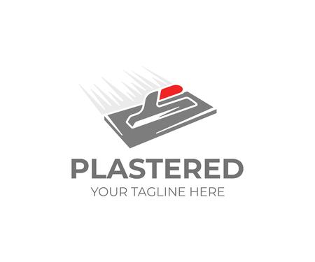 Plantilla de logotipo de paleta de enlucido. Diseño de vector de herramienta de yesero. Logotipo de trabajo de yeso Logos