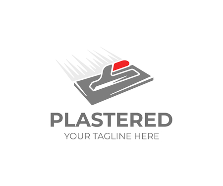 Plastering trowel logo template. Plasterer tool vector design. Plaster work logotype Illustration