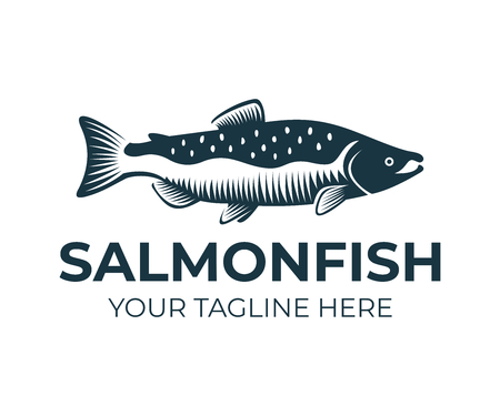 Lachs, Fisch und Angeln, Logo-Vorlage. Unterwasserwelt, Fluss- und Meeresleben, Natur, Vektordesign, Illustration