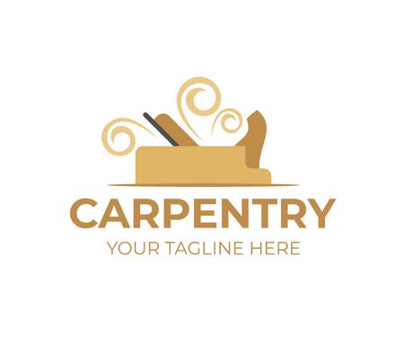 Carpintería, plano con virutas o astillas de madera, plantilla de logotipo. Carpintería o aserradero, servicio de leñadores y taller de madera, diseño vectorial, ilustración Logos