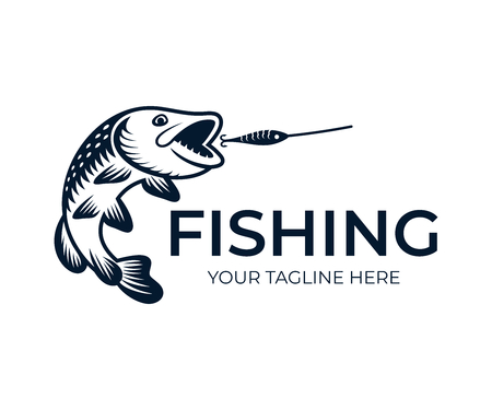 Fishing, fish pike attack wobbler, logo template. Freshwater fish northern pike (Esox lucius), pickerel, underwater animal and wildlife, vector design, nature illustration