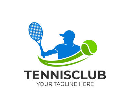 Tennis and tennis player. Active sport and tennis tournament, championship, vector design and illustration