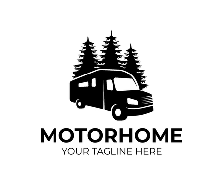 Motorhome or recreational vehicle (RV) camper car, logo template. Vacation travel or traveling, trip or adventure and caravan car, vector design. Transport, trees spruce and nature, illustration