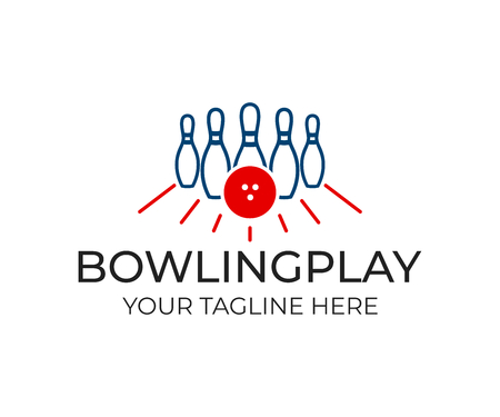 Bowling pin with ball and white pins for game, logo template. Playing bowling, game, leisure and sport, vector design. Entertaining bowling club, illustration