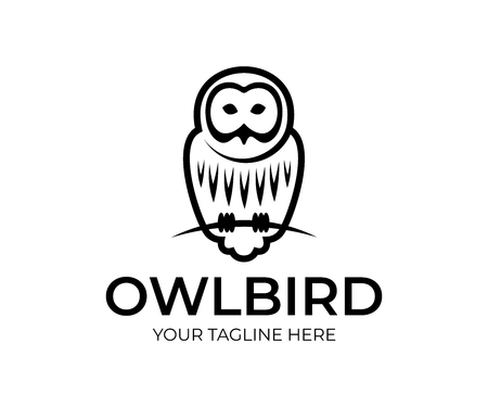 Bird owl linear sits on branch, logo design. Animal, wildlife, nature and night predatory bird, vector design