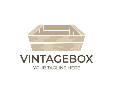 Wooden vintage and old box, logo design. Wooden boxes for transportation and storage food, fruit, vegetable and drink, vector design. Wooden tare for storage and sending, illustration Illustration