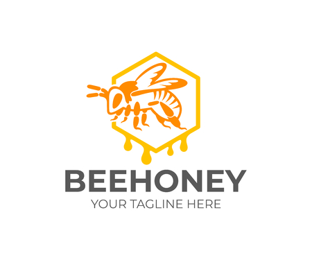 Bee sits in honeycomb and dripping honey drops, logo design. Beekeeping, apiary and agriculture, farming, vector design. House insect, animal world and nature, illustration Ilustração