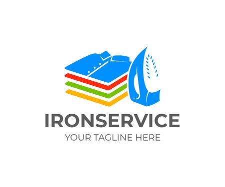 Bügeln und Waschen, Bügeln und Stapeln von gefalteten Hemden und T-Shirts, Logo-Design. Vertikale Position, funktionales modernes elektrisches Eisen und Kleiderstapel oder Kleiderstapel, Vektordesign Logo
