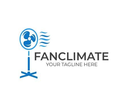 Ventilador eléctrico, ventilador, soplador y espiráculo con viento fresco de ola, diseño de logotipo. Electrodomésticos para el hogar creando un microclima, diseño e ilustración vectorial